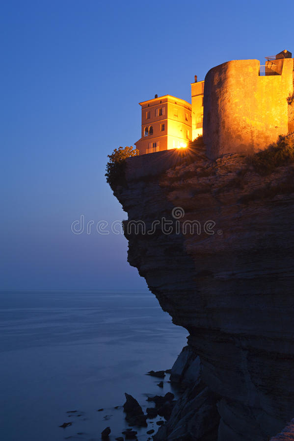 Citadel of Bonifacio, Corsica at dusk stock image