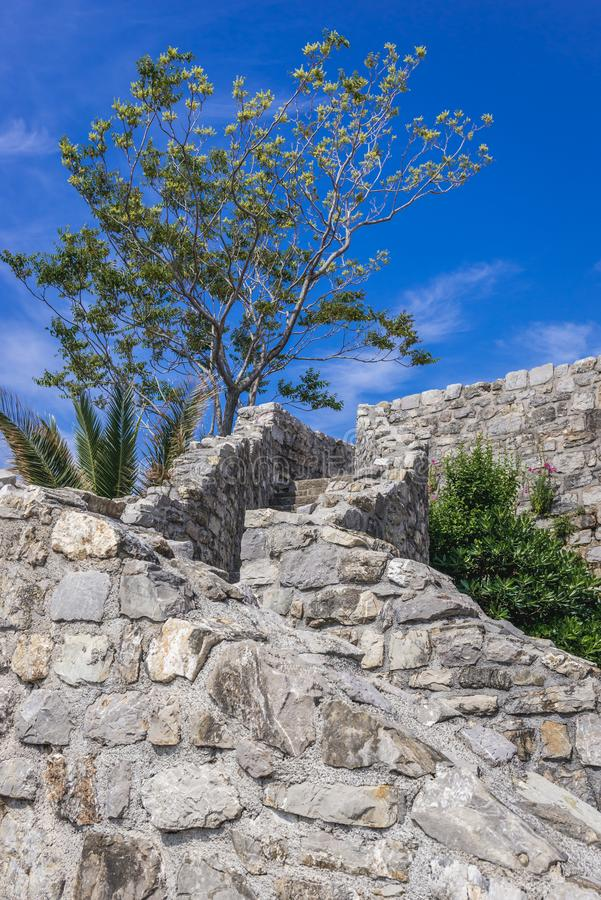 Citadel in Budva. Stairs in Old Town citadel of Budva coastal town, Montenegro stock photography