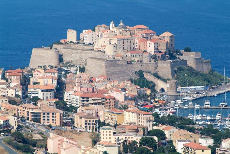 The citadel of Calvi on Corsica island stock photos