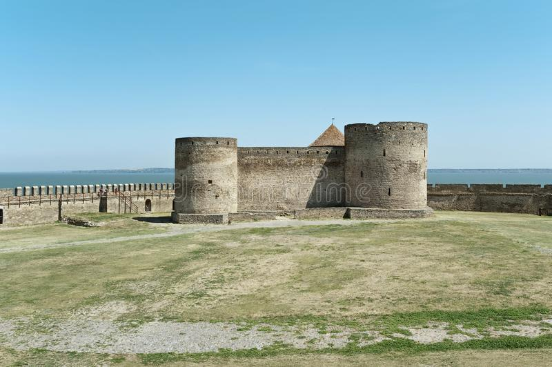 Citadel of the castle of Bilhorod-Dnistrovskyi Akkerman fortress in Ukraine. Panoramic view to the citadel of the castle of Bilhorod-Dnistrovskyi Akkerman stock photo
