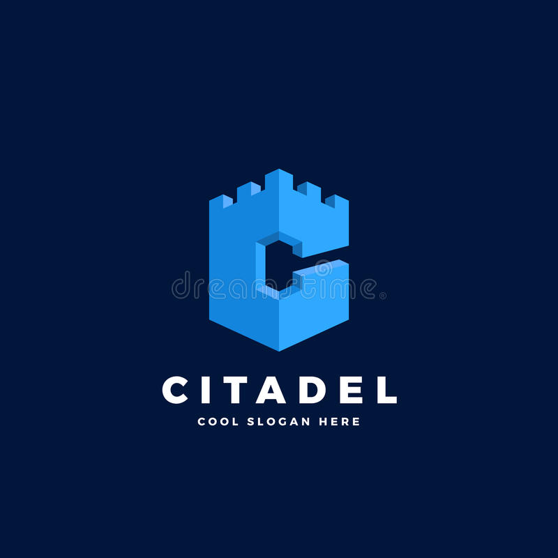 citadel castle or tower in the form of letter c abstract vector