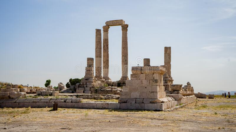 The citadel in the city of Amman in Jordan in the middle east. Temple of Hercules of the Amman Citadel Jabal al-Qal`a. Old City royalty free stock images