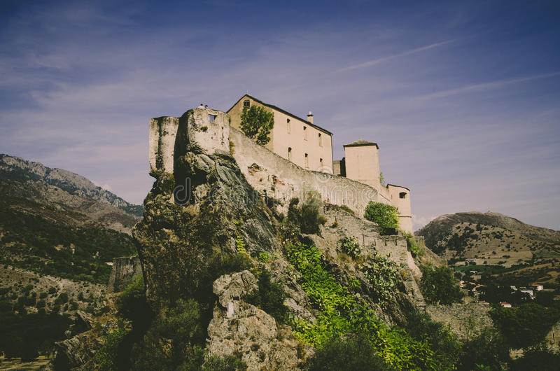 Citadel of Corte. The citadel of Corte seen from the bottom stock photos