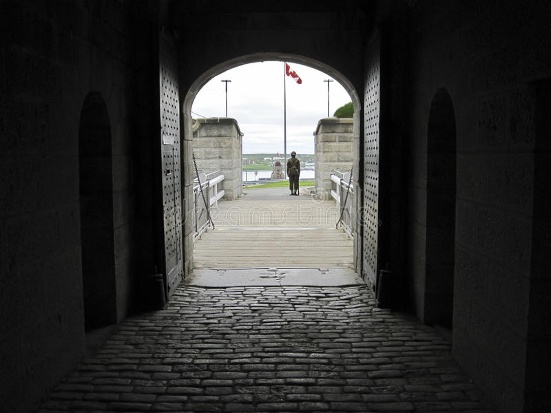 Citadel in Halifax Old Fort Entrance. A view out the front entrance of the Citadel fort in Halifax Nova Scotia, showing an actor in uniform guarding the gate stock photo