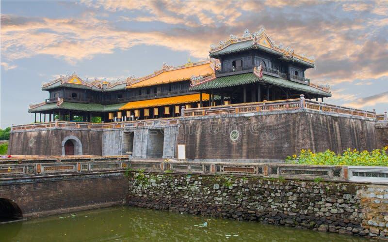 Citadel in Hue in sunset. Citadel sunset in Hue Vietnam stock photography