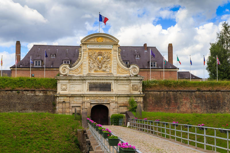 Citadel of Lille entrance. Entrance to the Citadelle de Lille, a historic fortification in Lille, France, which currently still houses the Headquarters Rapid stock photos