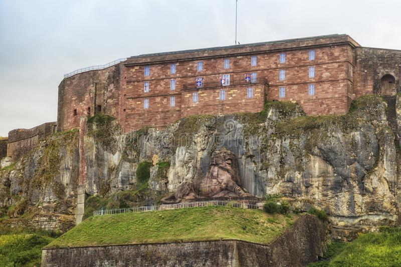 Citadel and Lion of Belfort. The Citadel of Belfort with the Lion of Bartholdi below stock image