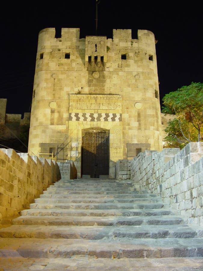 Citadel by night-Alleppo,Syria stock image