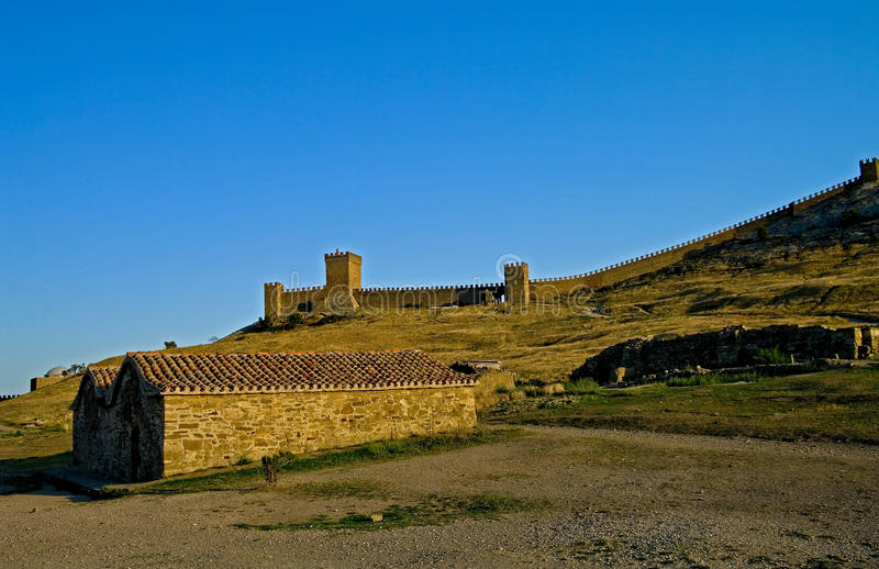 Citadel of the old fortress. Sudak fortress in Crimea - view of the citadel stock images