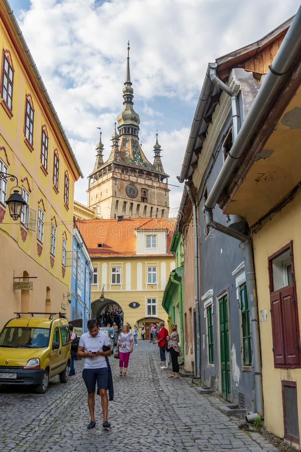 Citadel and old houses at Sighisoara royalty free stock photos