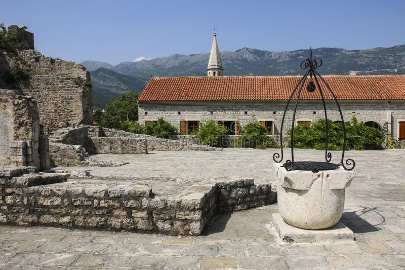 Citadel in old town in Budva one of medieval cities on Adriatic sea, Montenegro royalty free stock image