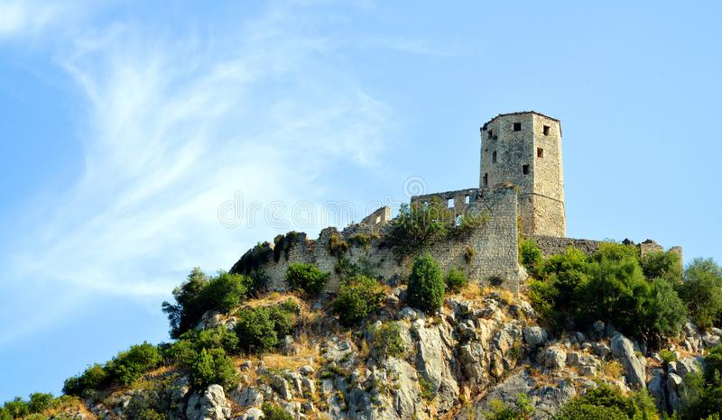 Citadel Pocitelj, castle in Bosnia and Herzegovina. This fortress was built by King Tvrtko I of Bosnia stock photo