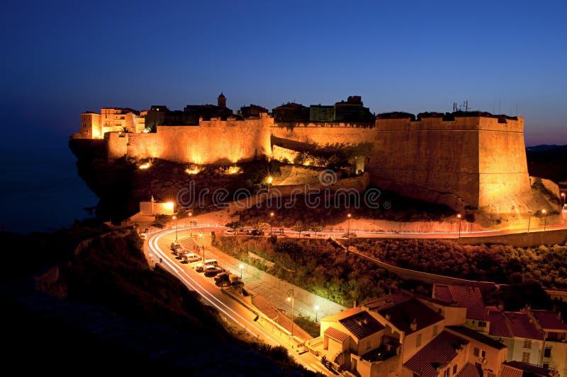 Citadel on upper city of Bonifacio, Corsica at dus stock photos