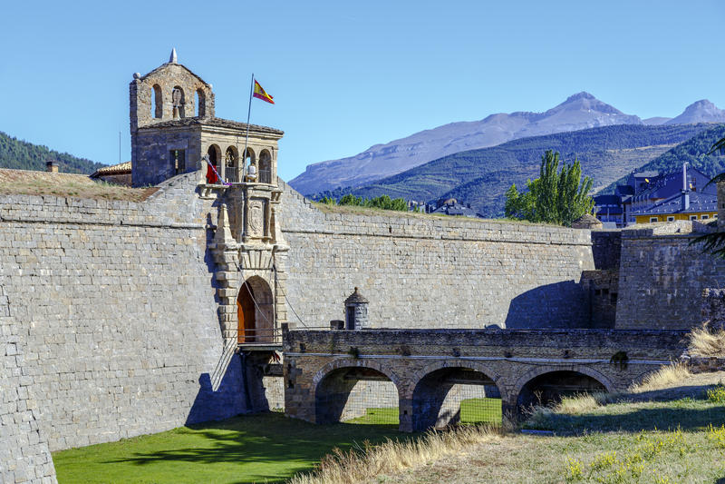 Citadel van Jaca, Spanje stock foto's
