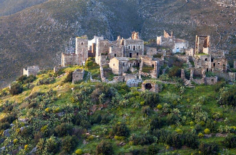 Citadel van Vathia in Mani, Griekenland stock afbeeldingen