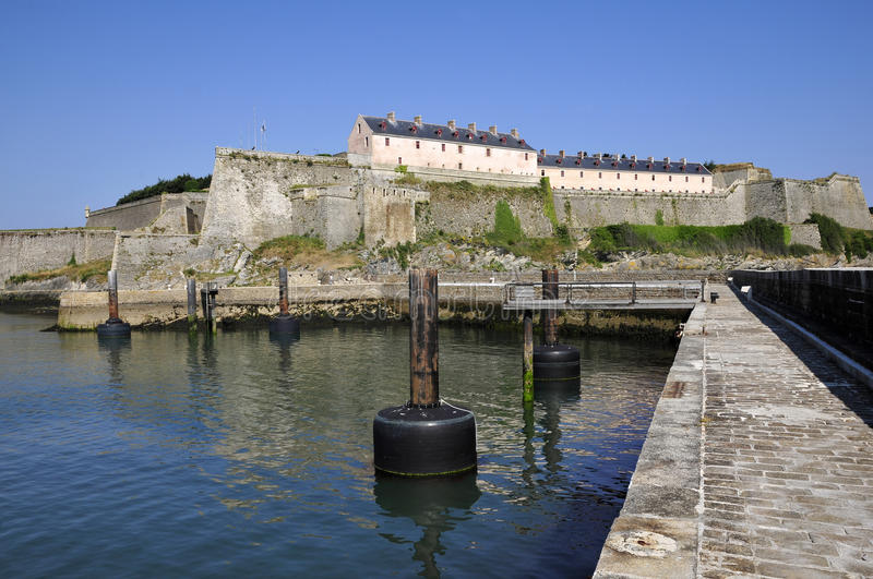 Citadel of Vauban at Belle Ile in France. Citadel of Vauban at Belle Ile , view of port, in the Morbihan department in Brittany in north-western France royalty free stock image