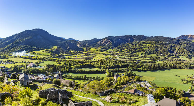 Citadel Vauban in Seyne les Alpes in the french Region provence. Des haut alpes under blue sky royalty free stock photography