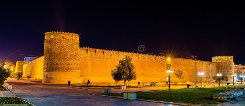 Citadela de Karim Khan na noite em Shiraz, Irã fotos de stock royalty free
