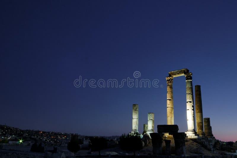 A citadela e o templo de Hercules, Amman, Jordão foto de stock