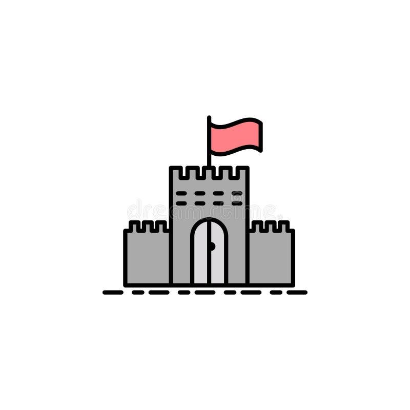 citadela, forte, muralha, ícone da bandeira Elemento do ícone da cor da história para apps móveis do conceito e da Web Citadela d ilustração stock