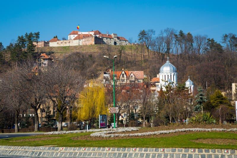 A citadela medieval famosa da fortaleza em Rupea foto de stock royalty free