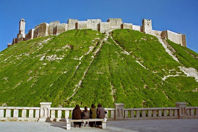 Citadelen av Aleppo i Syrien royaltyfri foto