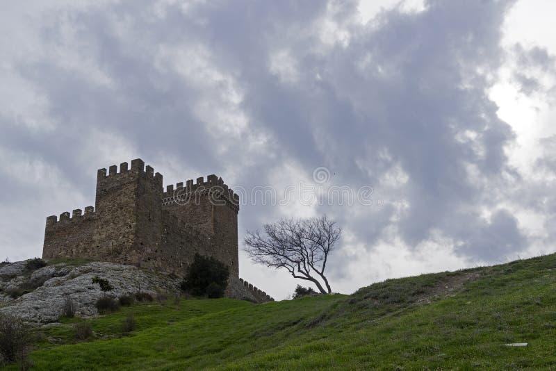 Citadell i Genoese fästning i Sudak, Krim fotografering för bildbyråer