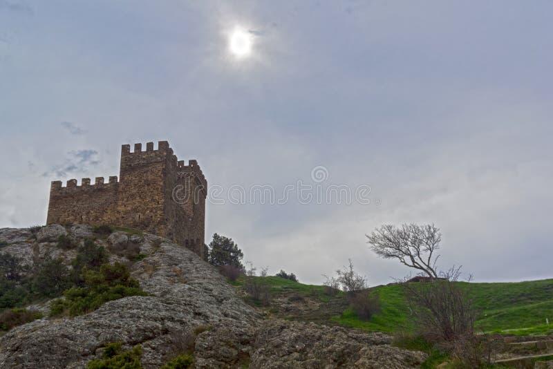 Citadell i Genoese fästning i Sudak, Krim arkivfoton