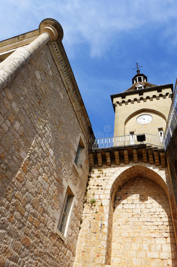 Citadell Rocamadour, Frankrike arkivbilder