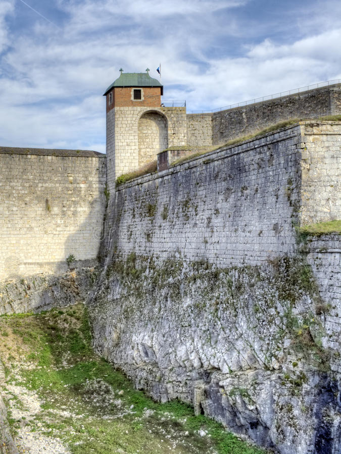 Citadelle of Besancon. Defensive wall and tower of the Citadel in Besançon. It was built by the architect Vauban stock photography