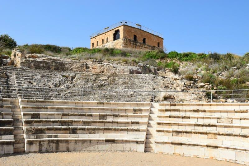 Citadelle et amphithéâtre romain d'antiquité, parc national Zippori, Israël image stock