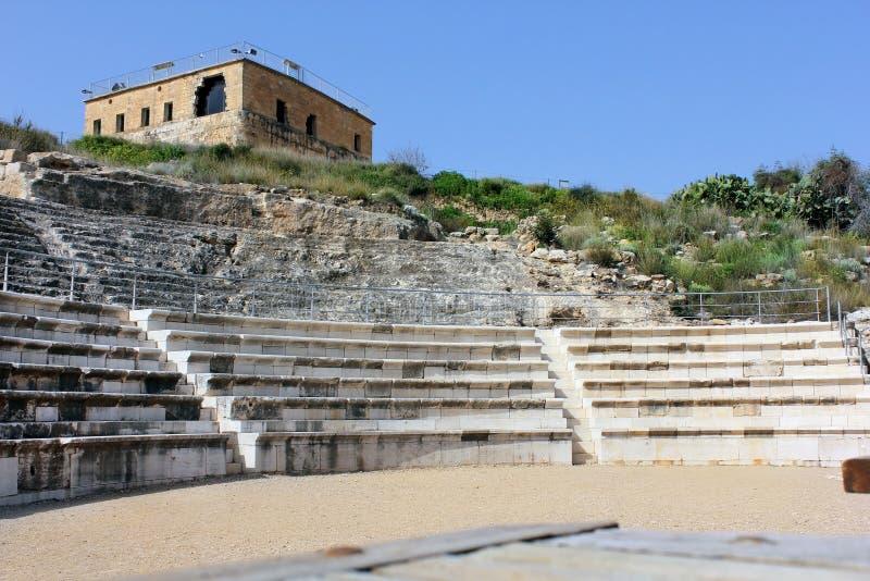 Citadelle et amphithéâtre romain d'antiquité, parc national Zippori, Israël images libres de droits