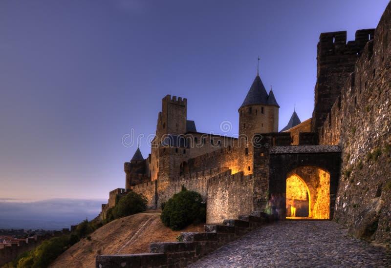 Citadelle et château de Carcassonne. images libres de droits