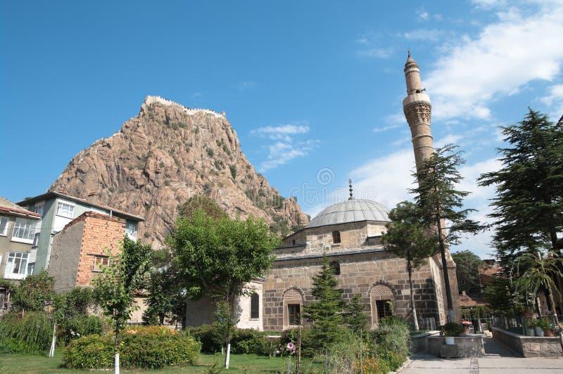 Citadelle et mosquée dans Afyon, Turquie photos stock