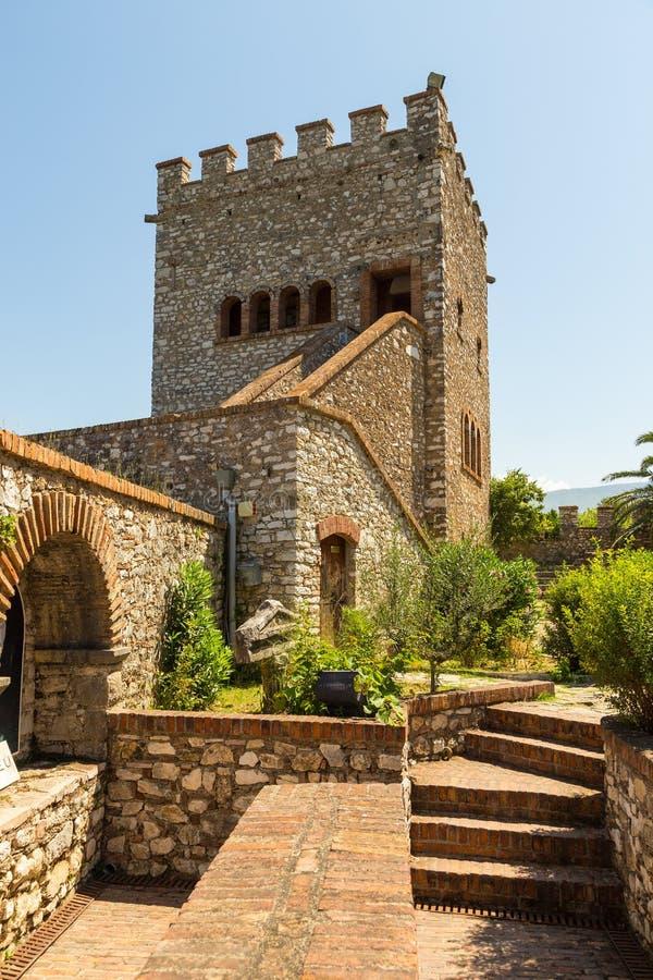 Citadelle vénitienne dans la ville antique Buthrotum, Butrint, Albanie de secteur image stock