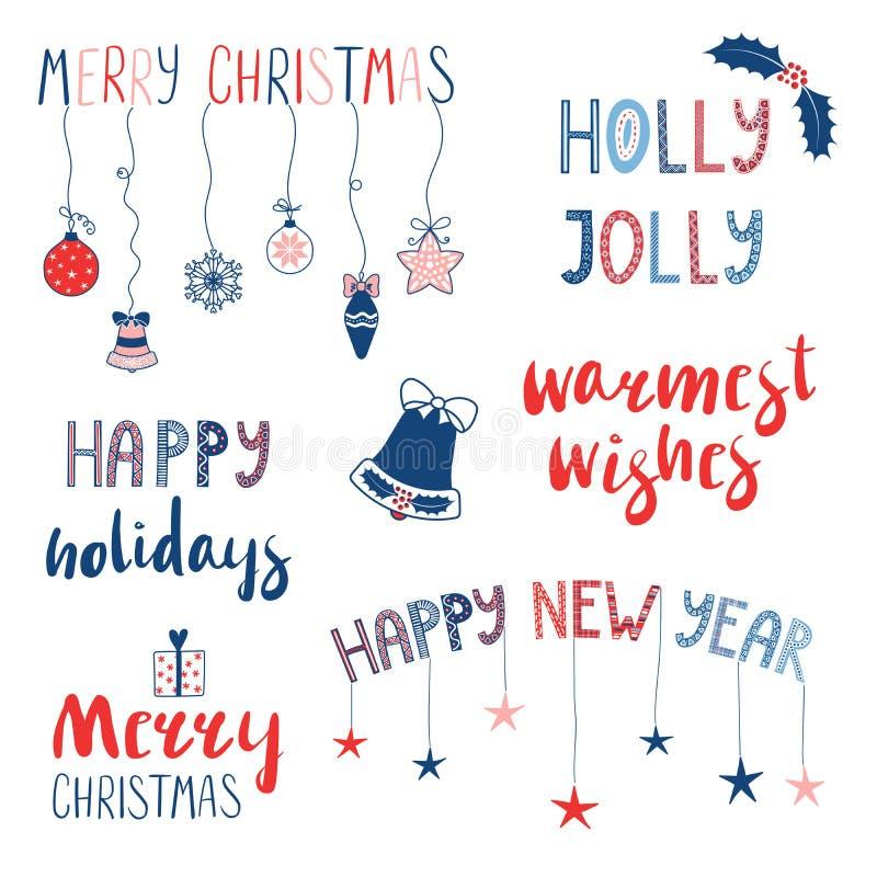 Citas de la Navidad y del Año Nuevo fijadas libre illustration