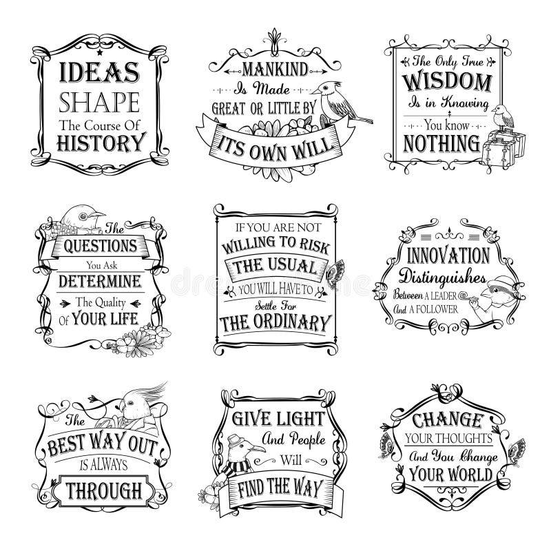 Citas de motivación e inspiradas fijadas ilustración del vector