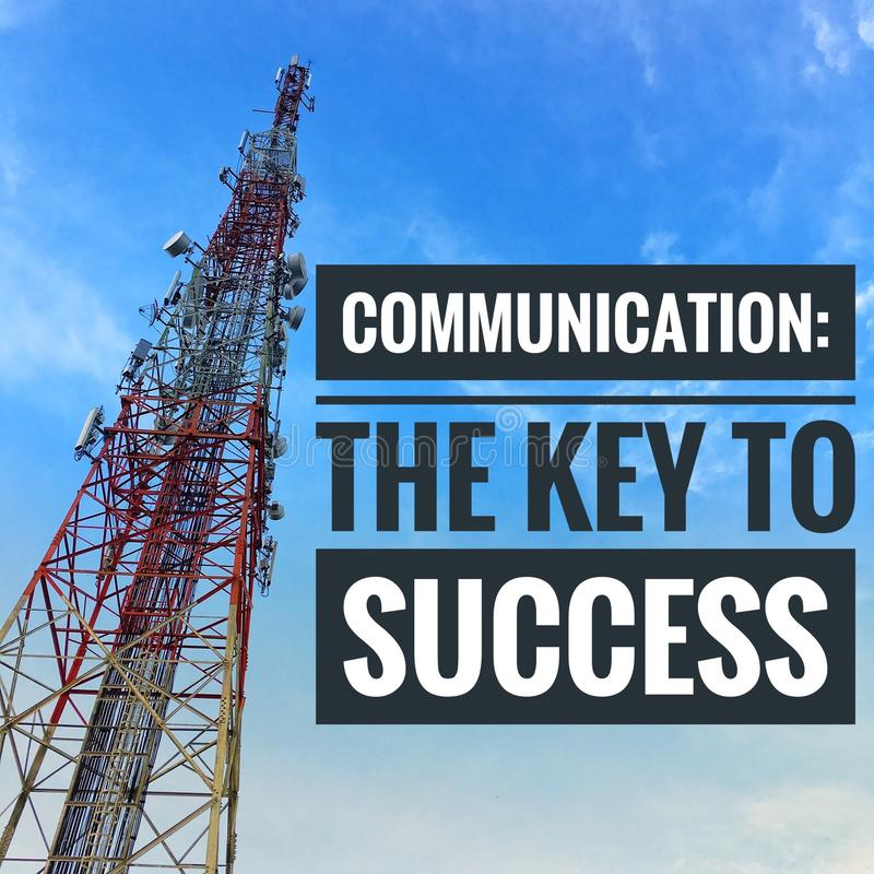 Citas de motivación de la comunicación la llave al éxito fotos de archivo