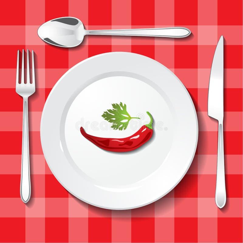Citas de tabla en mantel rojo ilustración del vector