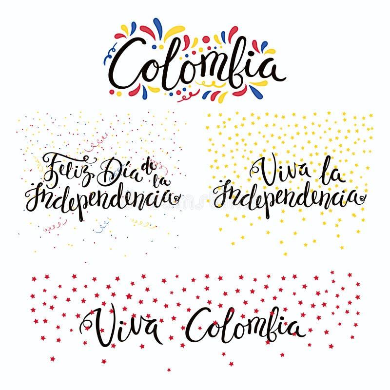 Citas del Día de la Independencia de Colombia ilustración del vector