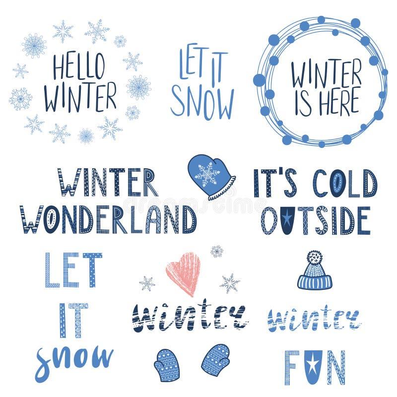 Citas del invierno fijadas stock de ilustración