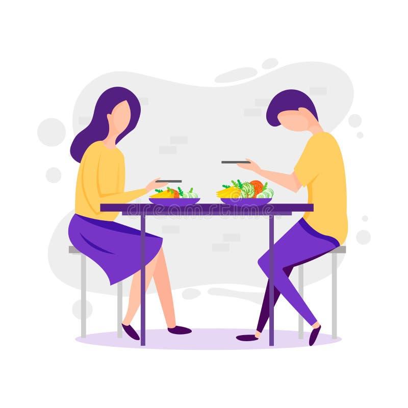 Citas Ejemplo divertido de la historieta del vector de pares Hombre y mujer que comen el pie sano en el paisaje de la naturaleza  libre illustration
