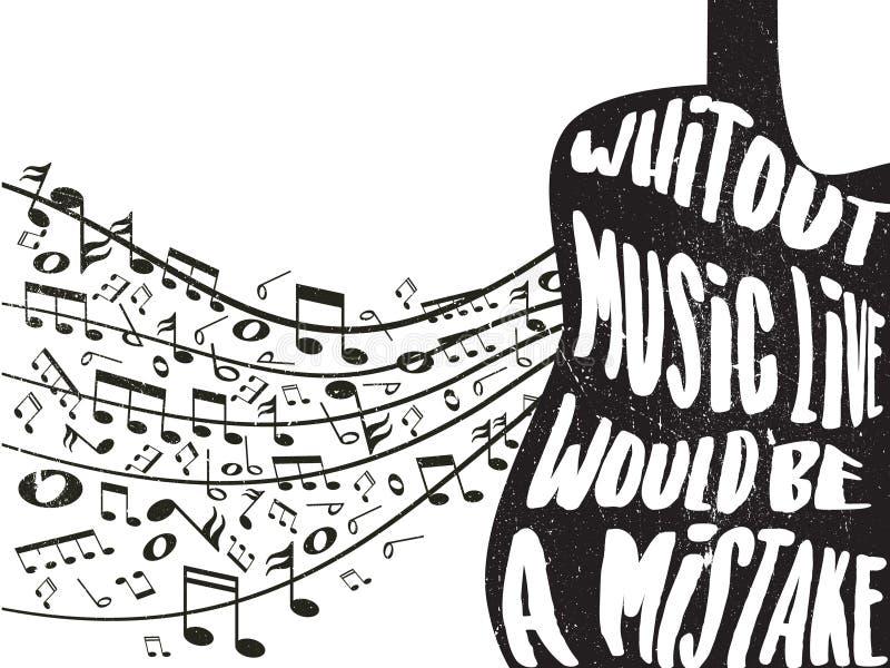 Citas sobre música con efectos del rasguño de la tiza imagen de archivo