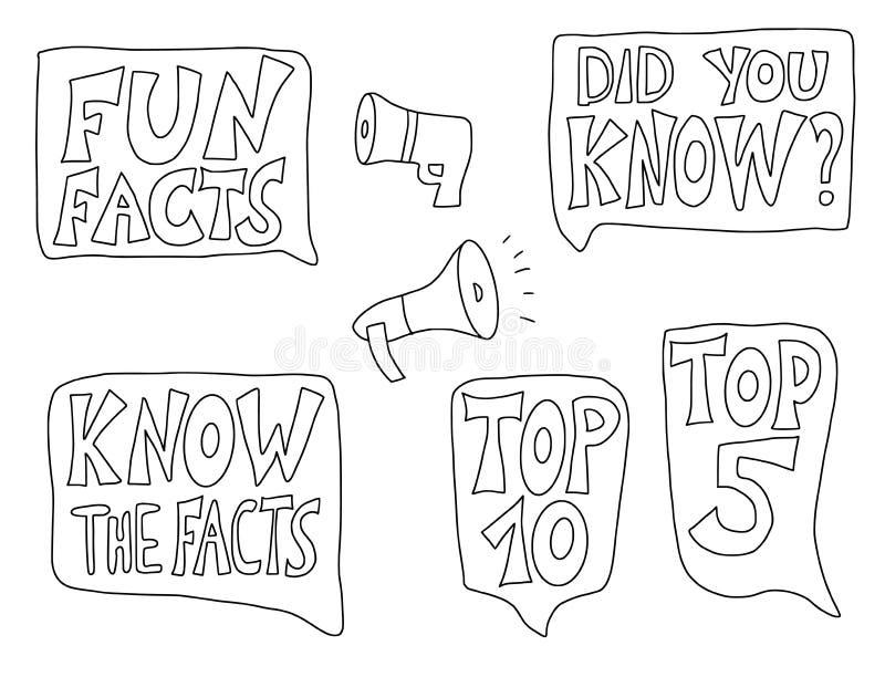 Citaten over geplaatste feiten Vector gestileerde tekst stock illustratie