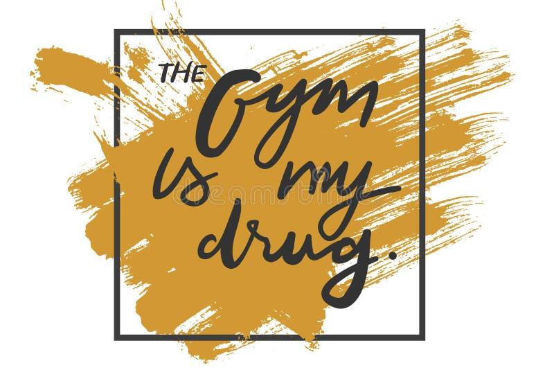 Citaten voor geschiktheid, gymnastiek Hand het van letters voorzien en douane typograph vector illustratie