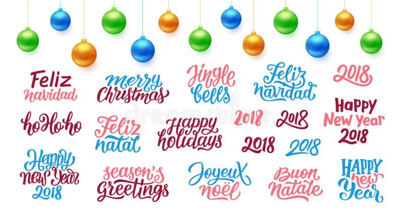 Citaten voor Kerstmis en Nieuwjaar 2018 decoratie stock illustratie