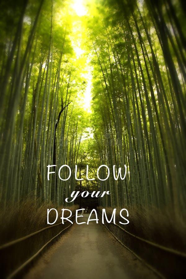 Citation avec la forêt en bambou images libres de droits