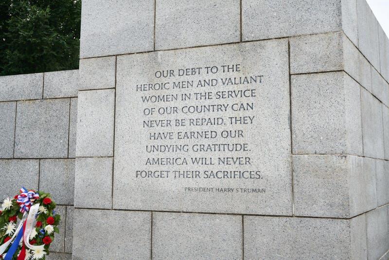 Citation commémorative de WWII par le Président Harry Truman photo stock