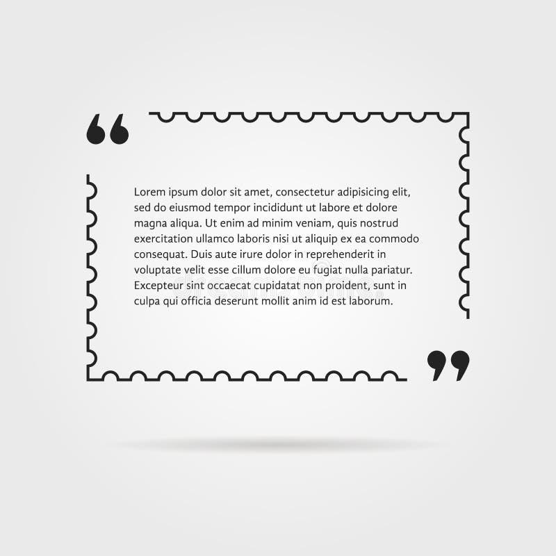 Citation dans la ligne mince timbre-poste illustration de vecteur