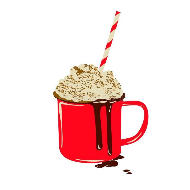 Citation de chauffage de boisson de Noël Lettrage manuscrit de style moderne de calligraphie avec la tasse de café rouge illustration libre de droits